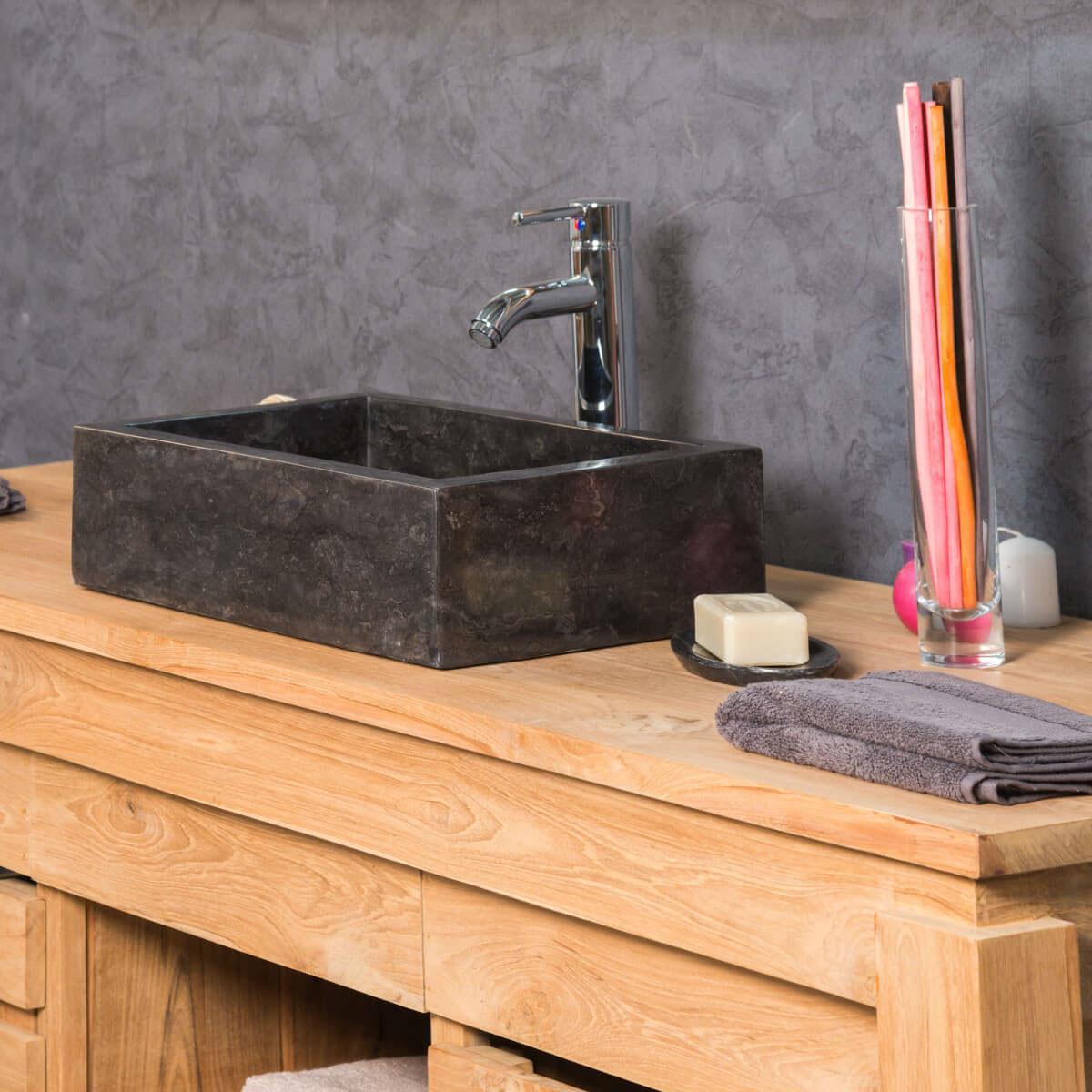 Vasque poser en marbre vasque noire rectangle milan for Vasque pour salle de bain