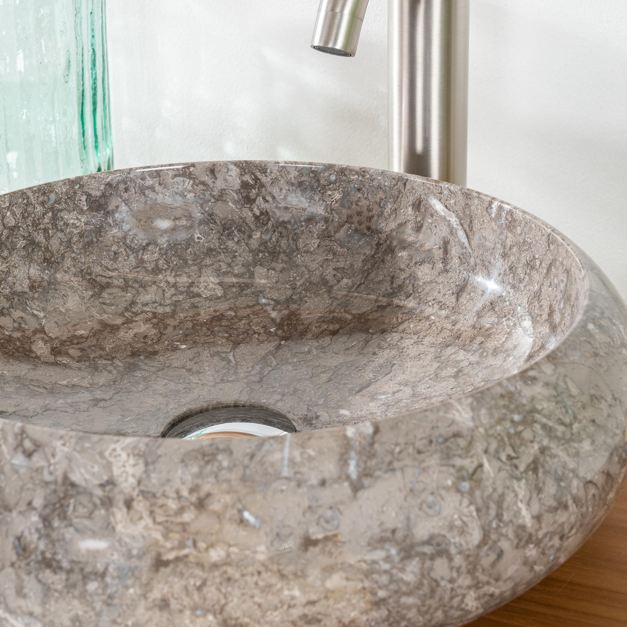 Vasque salle de bain poser venise gris taupe 40cm for Vasque a poser salle de bain