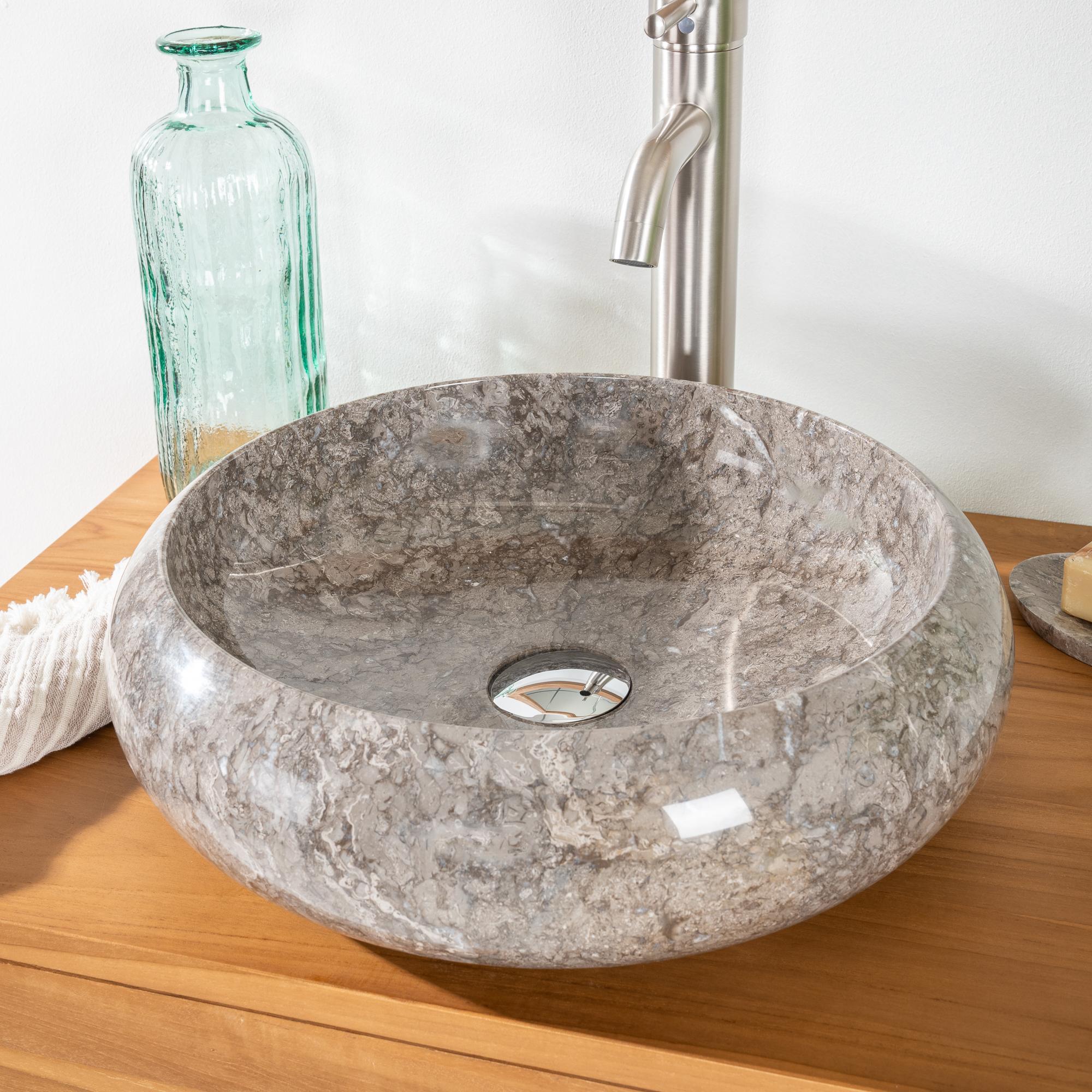 Vasque poser en marbre venise ronde grise taupe d for Salle de bain taupe et gris