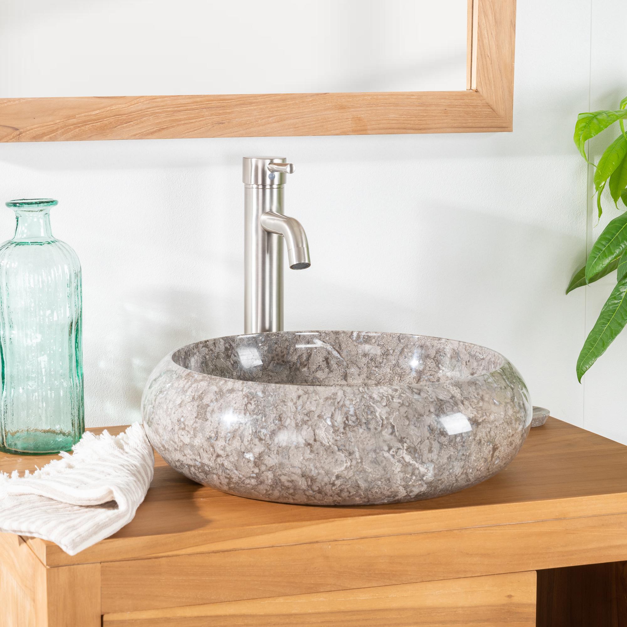 Vasque poser en marbre venise ronde grise taupe d for Vasque salle de bain ronde