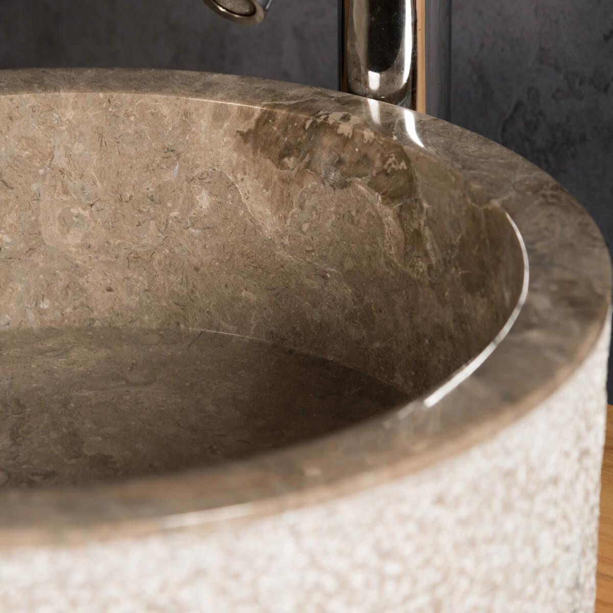Vasque poser en marbre elbe ronde grise taupe d 40 cm for Accessoire salle de bain marbre