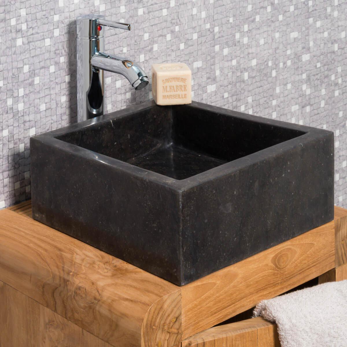 Vasque poser en marbre milan ronde noire d 30 cm - Gobelet salle de bain ...