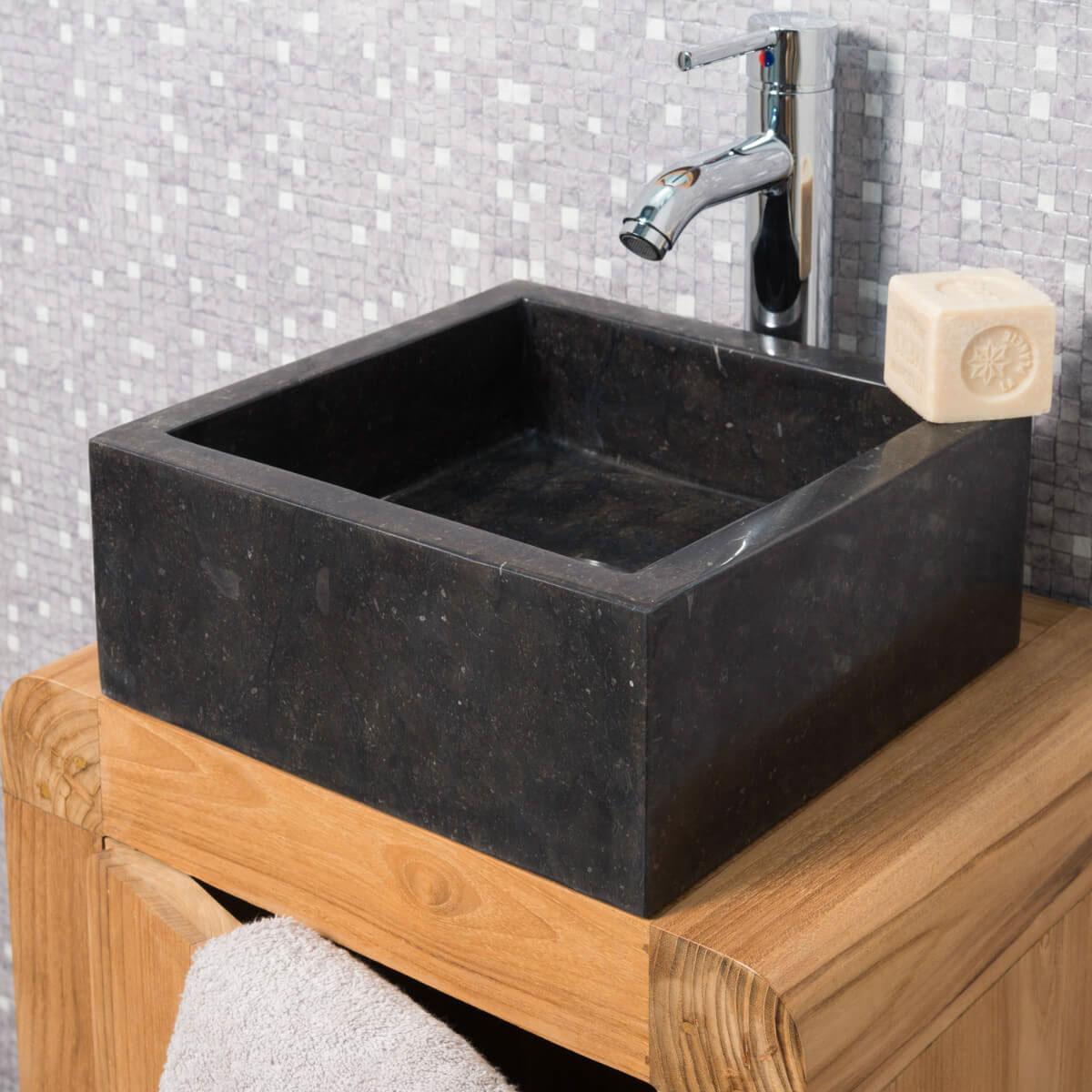 Vasque poser en marbre milan ronde noire d 30 cm - Vasque salle de bain noir ...