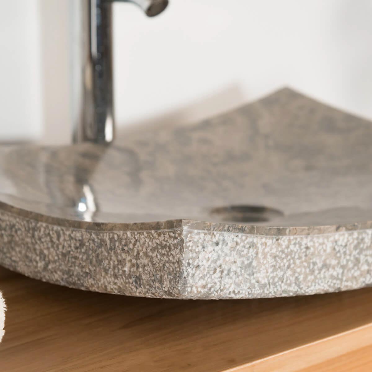 Vasque salle de bain en pierre marbre genes gris taupe 50cm for Vasque salle de bain en pierre
