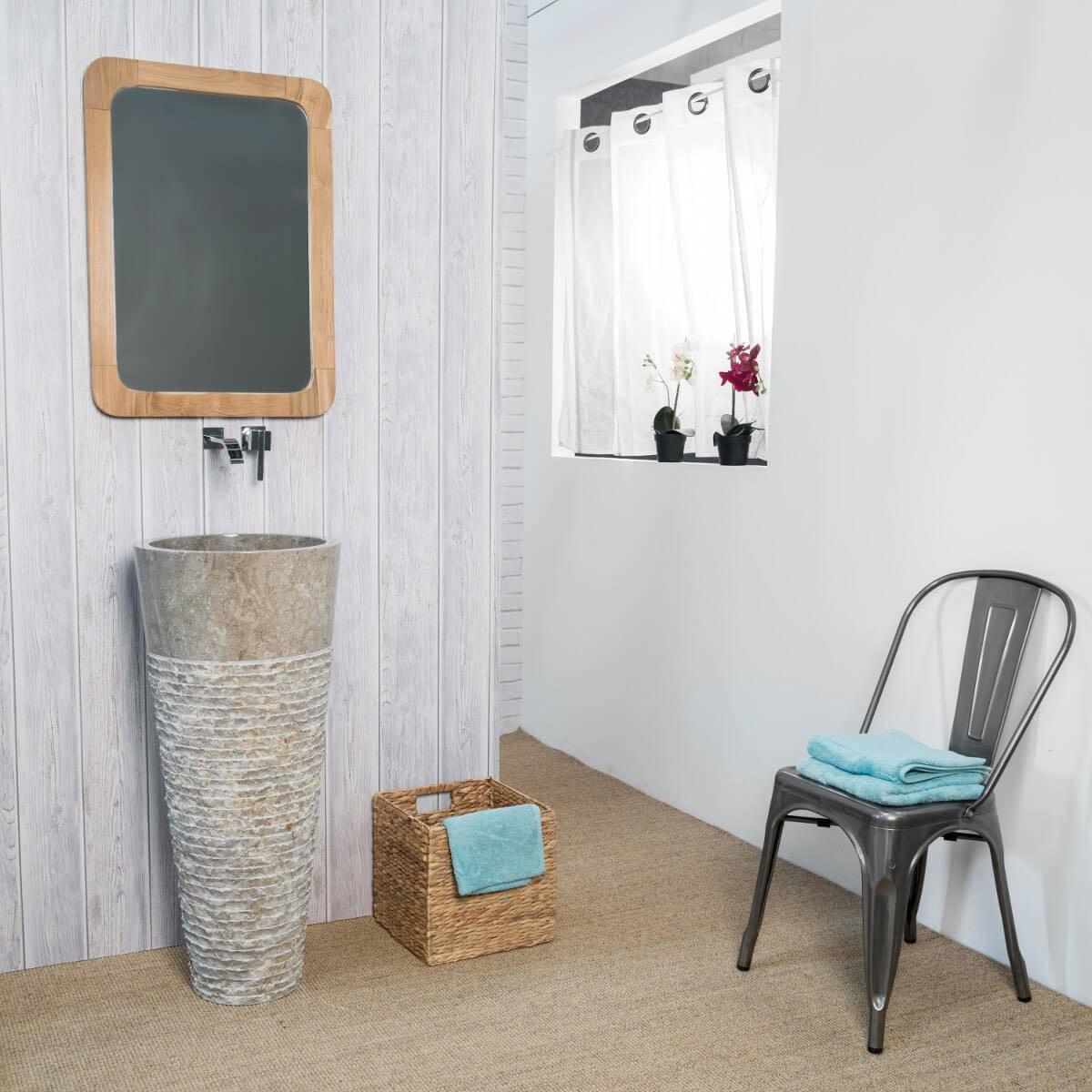 vasque sur pied en marbre conique grise florence h 90 cm. Black Bedroom Furniture Sets. Home Design Ideas