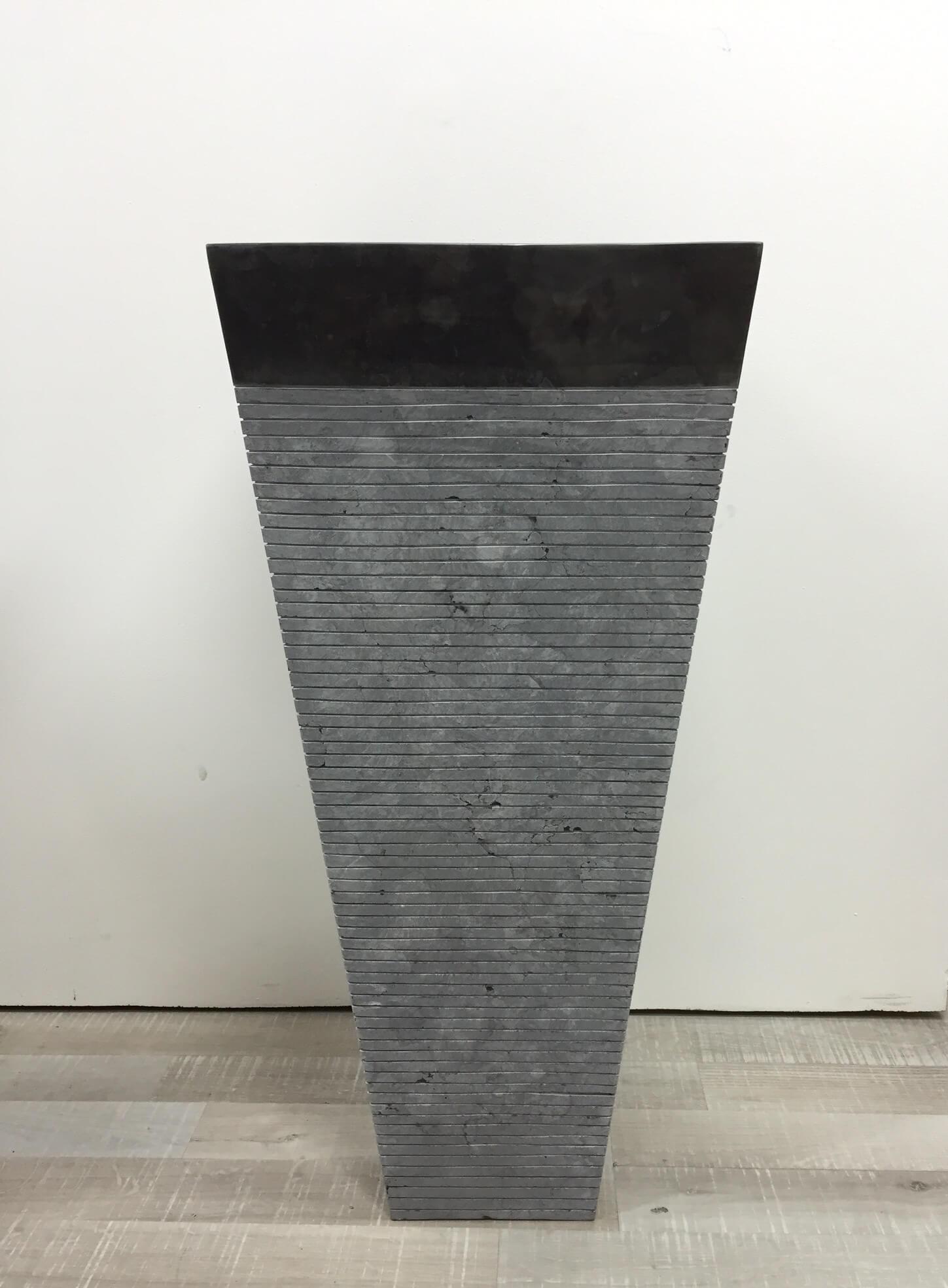 Neuf vasque salle de bain sur pied en pierre carr guizeh noir mat ebay - Vasque sur pied design ...