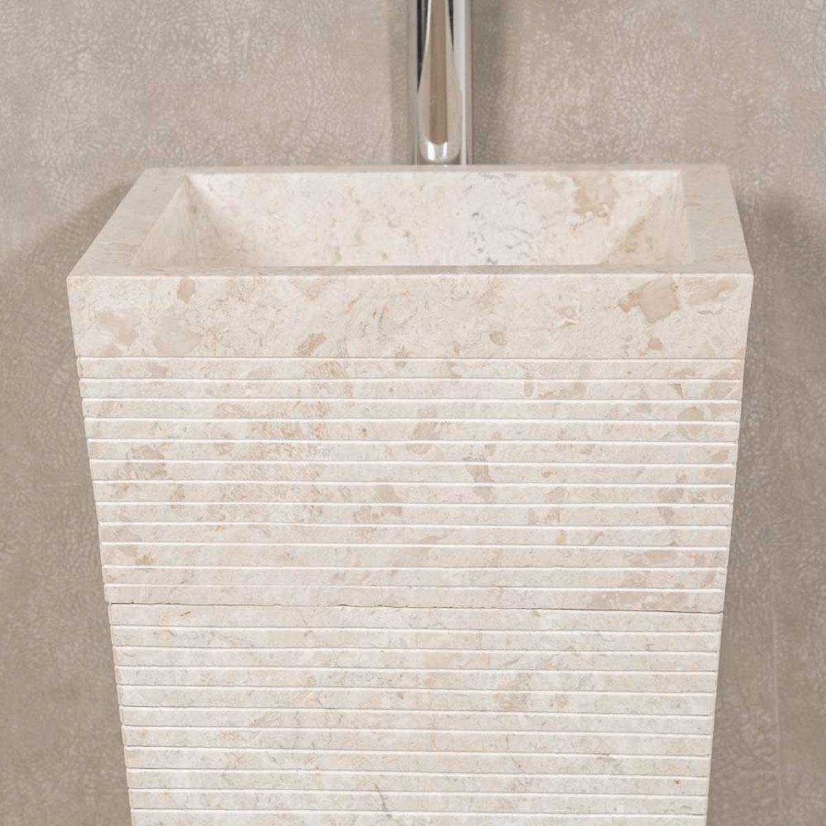 Vasque sur pied en marbre guizeh carr e cr me l 40 cm - Vasque salle de bain en pierre naturelle ...