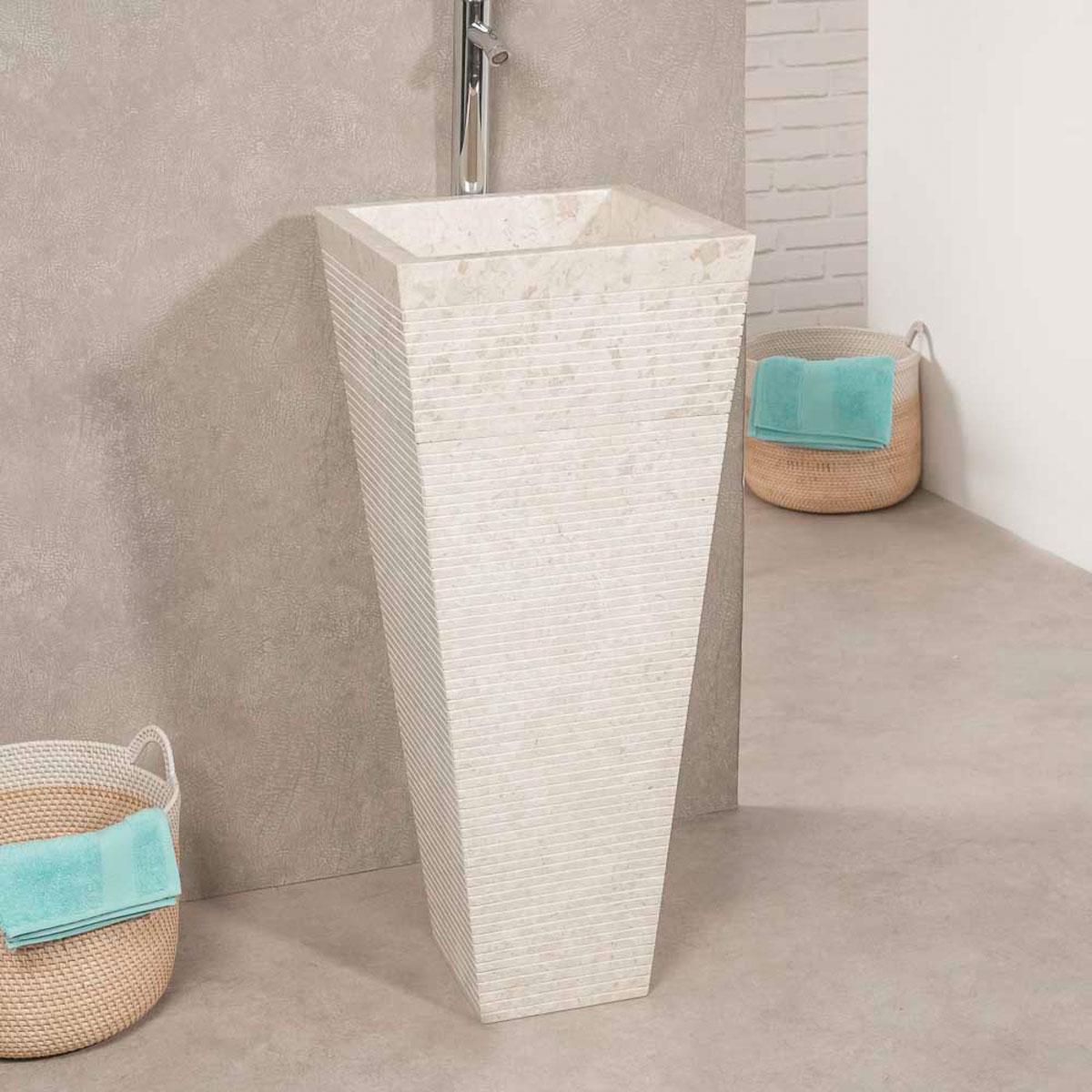 vasque sur pied en marbre guizeh carr e cr me l 40 cm. Black Bedroom Furniture Sets. Home Design Ideas