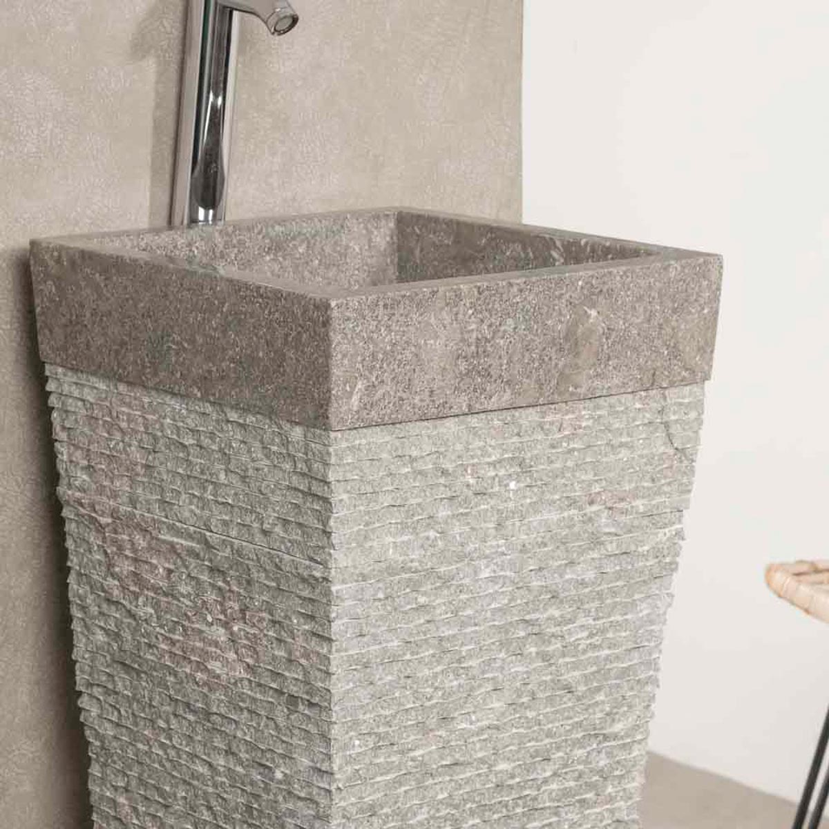 neuf vasque salle de bain sur pied en pierre pyramide havana gris ebay. Black Bedroom Furniture Sets. Home Design Ideas