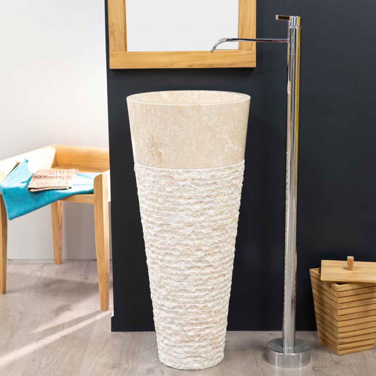 vasque sur pied en marbre florence conique cr 232 me h 90 cm