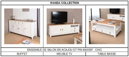 Ensemble de salon en acajou et pin massif Chic