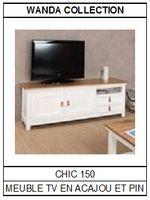 Meuble TV en acajou en pin Chic 150