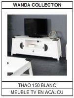Meuble TV en acajou blanc Thao 150