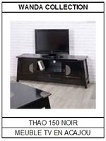 Meuble TV en acajou noir Thao 150