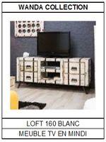 Meuble TV en mindi blanc Loft 160