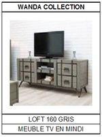 Meuble TV en mindi gris Loft 160