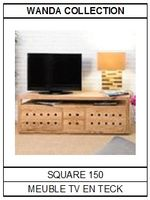 Meuble TV en teck Square 150