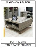 Table basse en mindi gris Loft 100