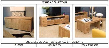 Ensemble Sérénité de meubles de salon en teck massif