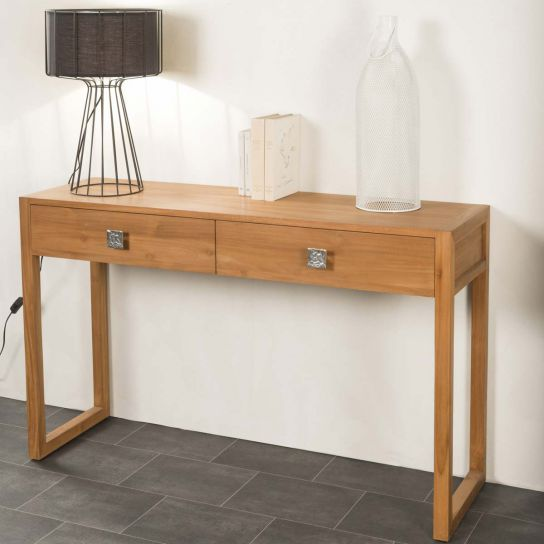 Meuble de salon : console de salon en bois (teck) massif, Thea, rectangle, naturel, L : 130 cm