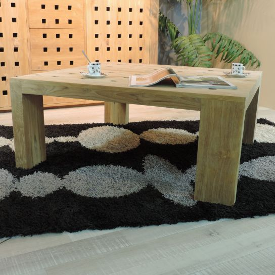 Meuble de salon : table basse en bois (teck) massif, Square, carrée, naturelle, L : 95 cm