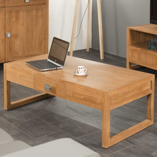 Meuble de salon : table basse en bois (teck) massif, Thea, rectangle, naturelle, L : 110 cm