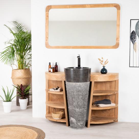 Meuble de salle de bain en teck Florence 120cm + vasque noir