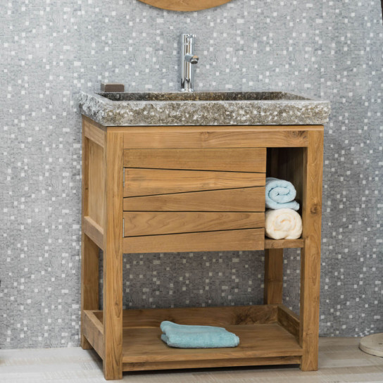 Meuble salle de bain Cosy vasque gris.