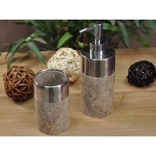 distributeur de savon en marbre et inox gris. Black Bedroom Furniture Sets. Home Design Ideas