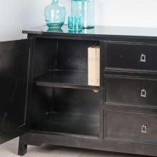 Buffet de salon en bois d 39 acajou massif thao rectangle noir l 160 cm - Enlevement meubles a domicile ...