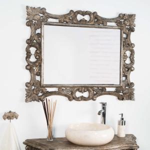 Miroir bois cérusé bronze 100 x 80