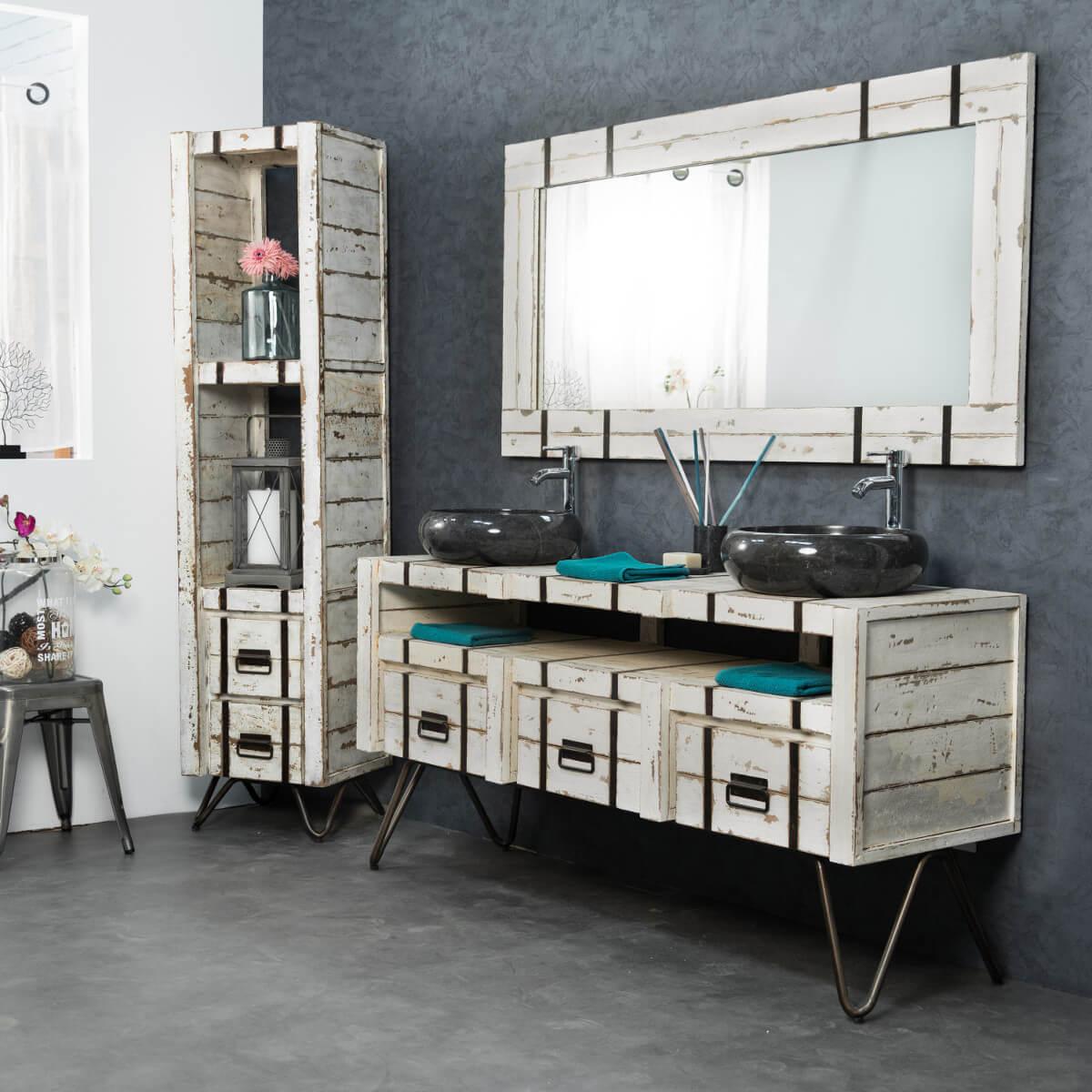 Wanda collection for Meuble de salle de bain bois blanc