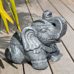 Antique grey seated stone Elephant statue 40 cm