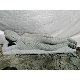 Bouddha allongé en pierre volcanique de jardin zen 1m20