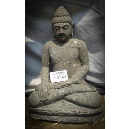 Bouddha assis en pierre position lotus offrande 60cm jardin