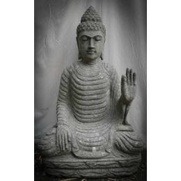 Bouddha assis en pierre volcanique position Chakra extérieur zen 80cm