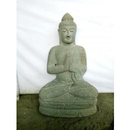 Bouddha assis en pierre volcanique position prière 80cm