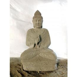 Bouddha en pierre position offrande et chapelet de jardin 1m