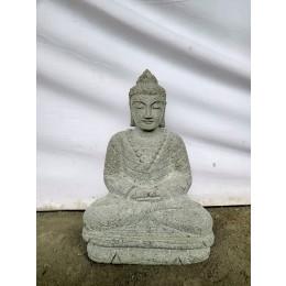 Bouddha en pierre volcanique position offrande de jardin 50 cm