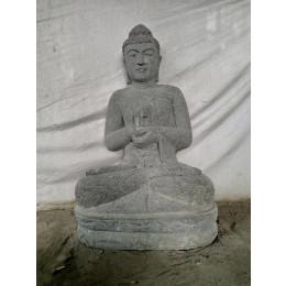 Bouddha extérieur zen en pierre volcanique position chakra