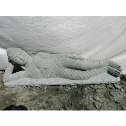 Buda tumbado de piedra volcánica para jardín zen 1,20 m