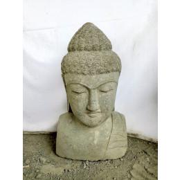 Buste de Bouddha en pierre volcanique déco zen 70 cm
