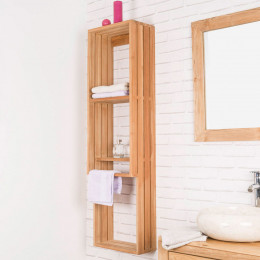 Carla teak wall-mounted storage unit