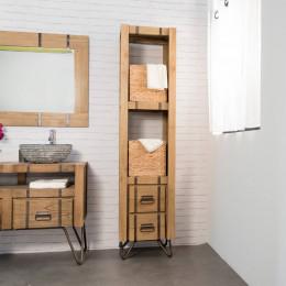 Meuble colonne de salle de bain loft bois métal 190 cm