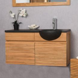 Contemporary teak bathroom vanity unit 100 with black sink