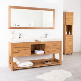 Cosy teak double-sink vanity unit and cream sinks.