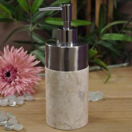 Distributeur de savon en marbre et inox crème