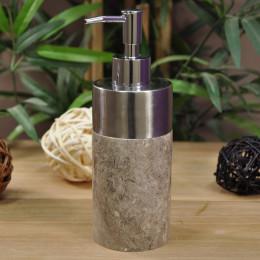 Distributeur de savon en marbre et inox gris