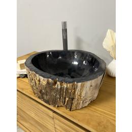 Double vasques de salle de bain en bois pétrifié fossilisé 45 CM