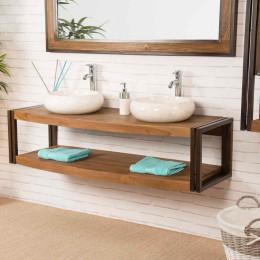 Elegance teak and metal double-sink wall-mounted vanity unit 145 cm